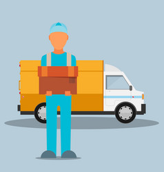man postal delivery courier man in front of cargo vector image vector image