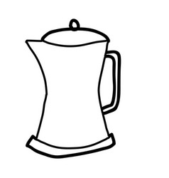 Monochrome contour hand drawn of metallic kettle vector