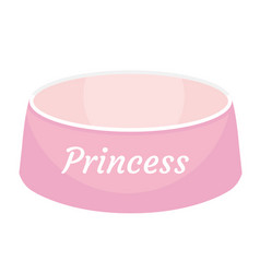 Pink dog food bowl with an inscription princess vector