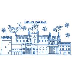 Poland lublin winter city skyline merry vector