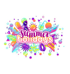 print with stylized summer objects abstract vector image