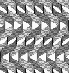 Ribbons dark and light overlapping waves pattern vector image