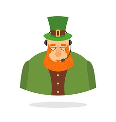 Saint patrick call center leprechaun and headset vector