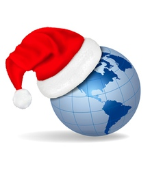 santa hat on a globe vector image vector image