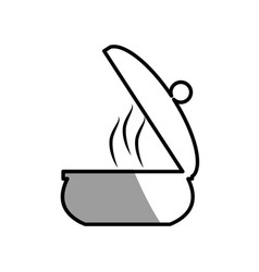 Saucepan pot cooking picnic shadow vector