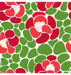 seamless pattern of red blooming flowers vector image vector image
