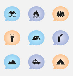 Set of 9 editable camping icons includes symbols vector