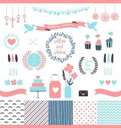 Set of elements for wedding design vector