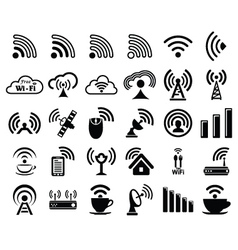 Set of thirty wifi icons vector