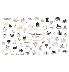 simple hand drawn doodles collection vector image vector image