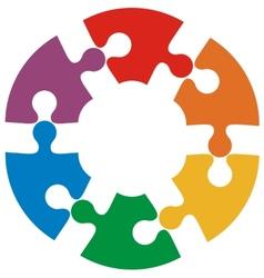 Six color puzzle circle vector