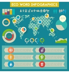 Utility infographics with world map vector