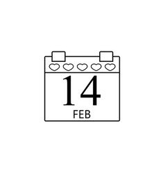 valentines calendar line icon valentines day vector image vector image