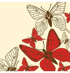Various butterflies on background vector image vector image