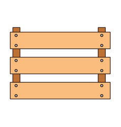 wooden basket flat in colorful silhouette with vector image