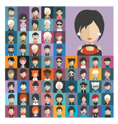 Set of people icons in flat style with faces 19 a vector