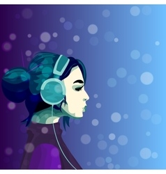 Girl listening music in headphines vector