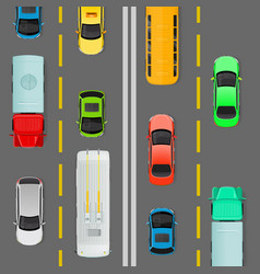 City traffic on top view flat concept vector