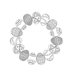 round frame from hand drawing easter eggs easter vector image