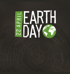 Earth day poster tree rings and earth day logo vector