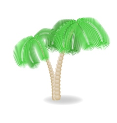 Two bend palm trees vector