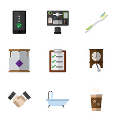 Flat icon oneday set of cappuccino tub clock and vector