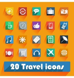 Office and business travel flat icons for web and vector