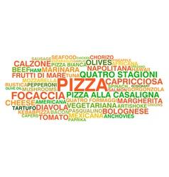 Traditional italian pizza types vector