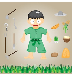 with farmers on the farm cartoon vector image