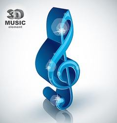 Treble clef 3d blue music design element vector