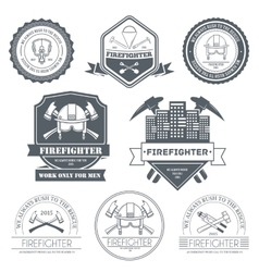 Firefighter label template of emblem element for vector