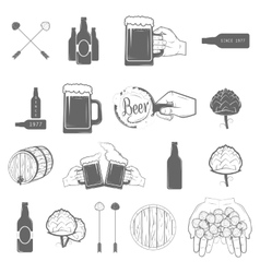 Set of two-color beer craft icons vector