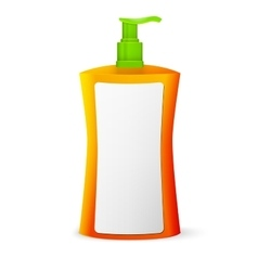 Plastic clean colored bottle with dispenser pump vector