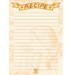 Recipe document template vector