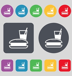 Lunch box icon sign a set of 12 colored buttons vector