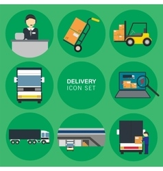 Cargo delivery icon set vector