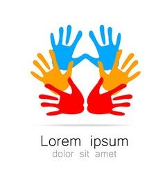 Hand print logo template vector