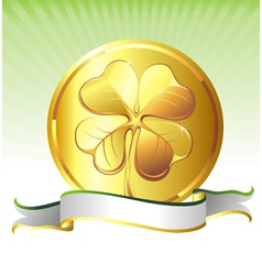 Golden coin with clover sign vector