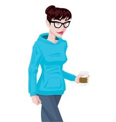 Girl in hoodie vector