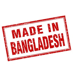 Bangladesh red square grunge made in stamp vector
