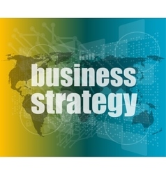Business strategy word on digital screen mission vector