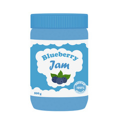 Blueberry jam in glass jar made in flat style vector