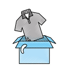 Box carton with shirt vector