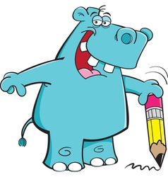 Cartoon Student Hippo vector image vector image