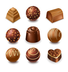 chocolate candies and comfits sweets 3d vector image vector image