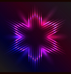 Christmas star formed of beams of purple light vector image vector image