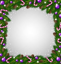 Christmas tree frame and candy canes vector