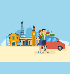 Couple in love travel to europe make selfie vector