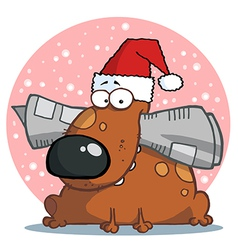 Dog Wearing A Santa Hat vector image