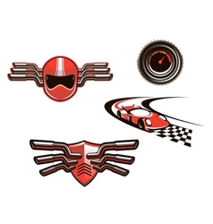 Elements and symbols of racing sport vector image vector image
